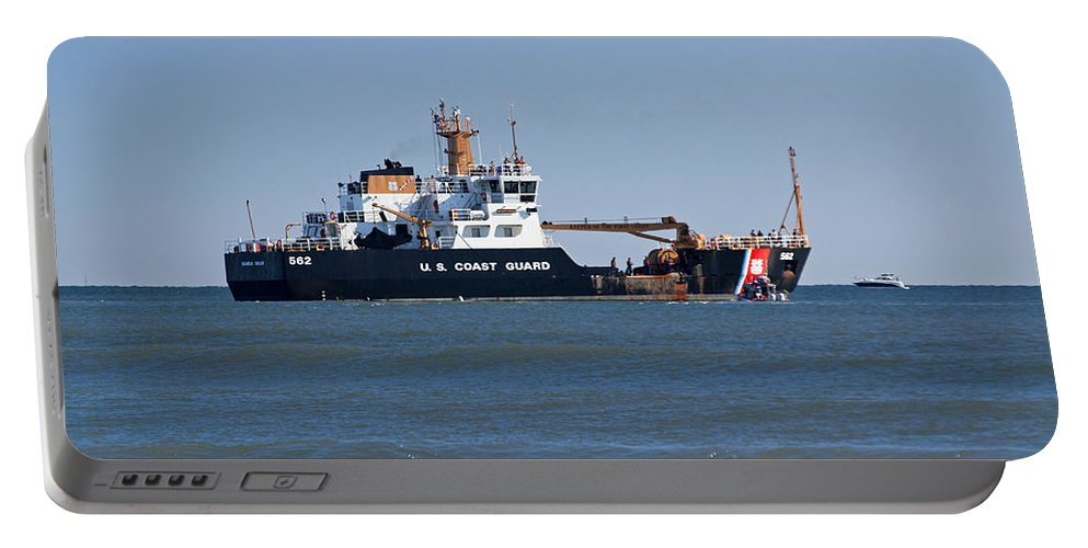 Scenery Portable Battery Charger featuring the photograph Coast Guard Cutter by Kenneth Albin