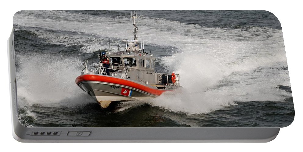 Harbor Portable Battery Charger featuring the photograph Coast Guard In Action by Rob Hans