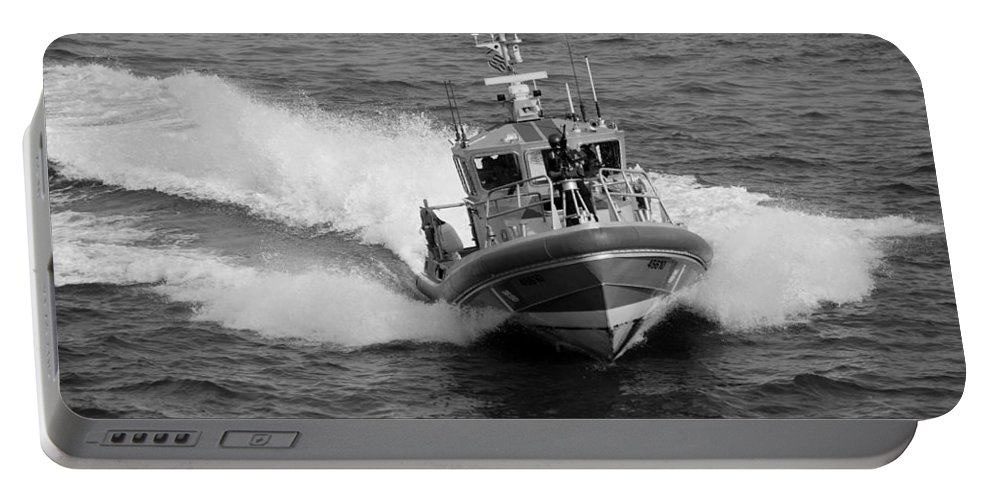 Harbor Portable Battery Charger featuring the photograph Coast Guard In Black And White by Rob Hans