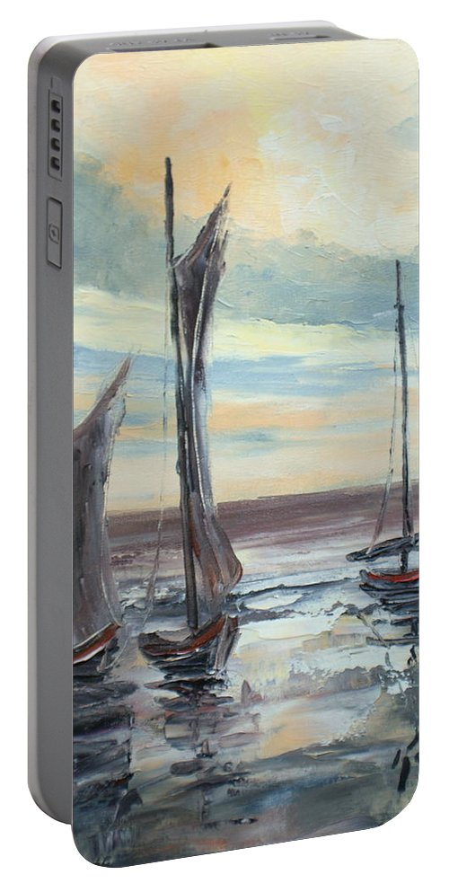 Seascape Portable Battery Charger featuring the painting Coast Impression by Luke Karcz
