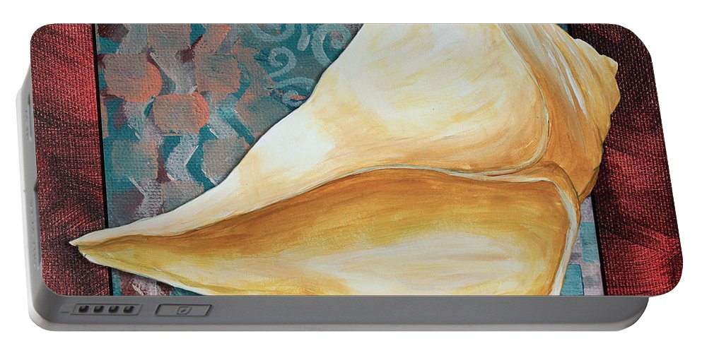 Coastal Portable Battery Charger featuring the painting Coastal Decorative Shell Art Original Painting Sand Dollars Asian Influence II By Megan Duncanson by Megan Duncanson