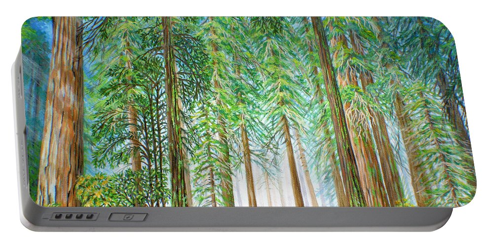 Trees Portable Battery Charger featuring the painting Coastal Redwoods by Jane Girardot