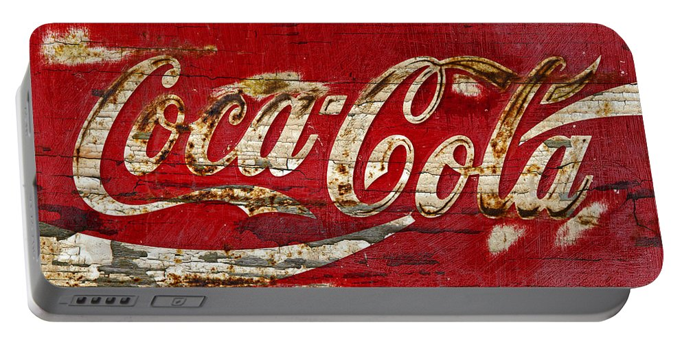 Coca Cola Portable Battery Charger featuring the photograph Coca Cola Sign Cracked Paint by John Stephens