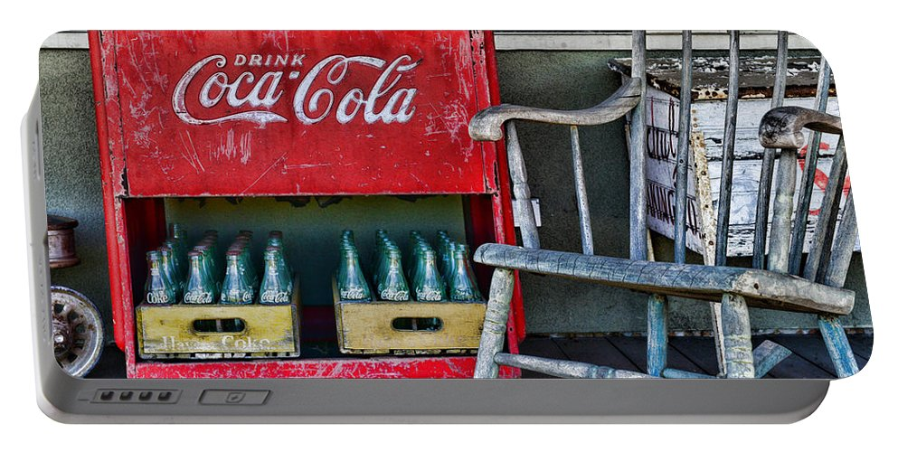 Paul Ward Portable Battery Charger featuring the photograph Coca Cola Vintage Cooler And Rocking Chair by Paul Ward