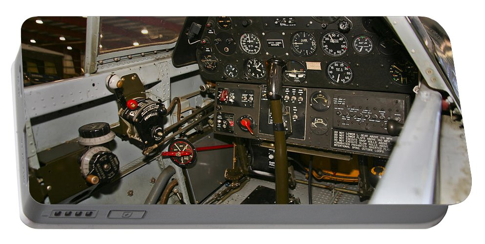 Horizontal Portable Battery Charger featuring the photograph Cockpit Of A P-40e Warhawk by Scott Germain