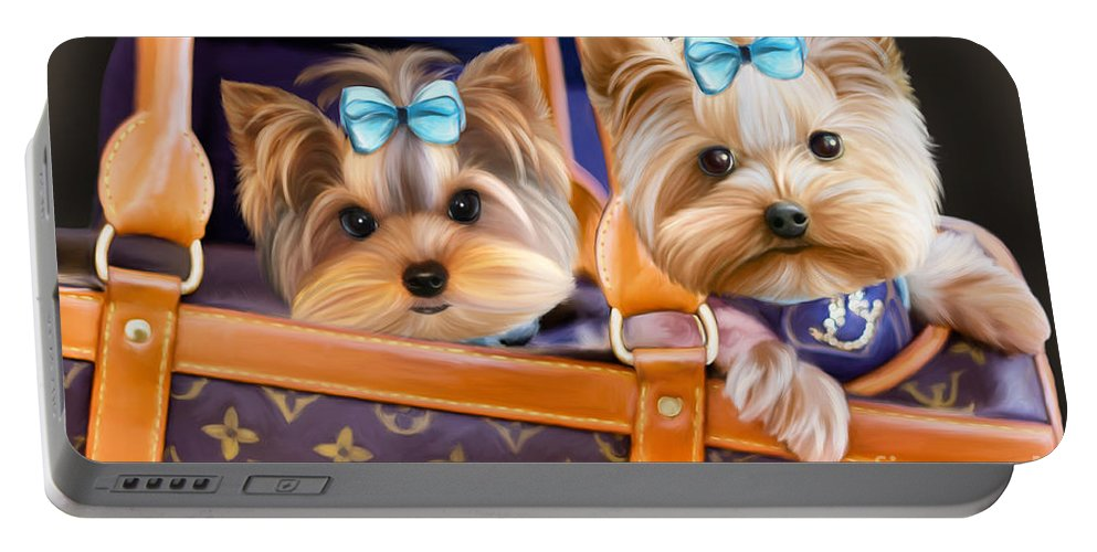Yorkies Portable Battery Charger featuring the mixed media Coco And Lola by Catia Lee