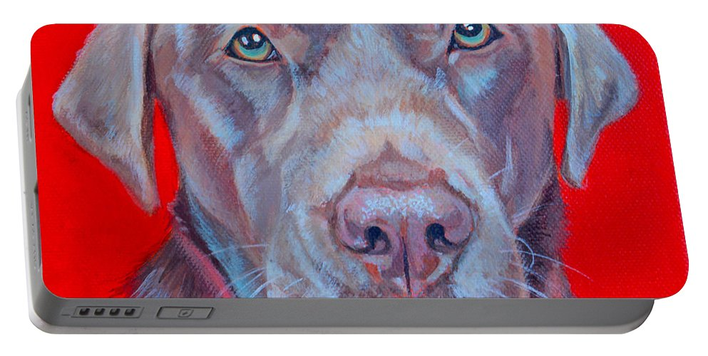 Chocolate Labrador Portable Battery Charger featuring the painting Coco by Deborah Cullen