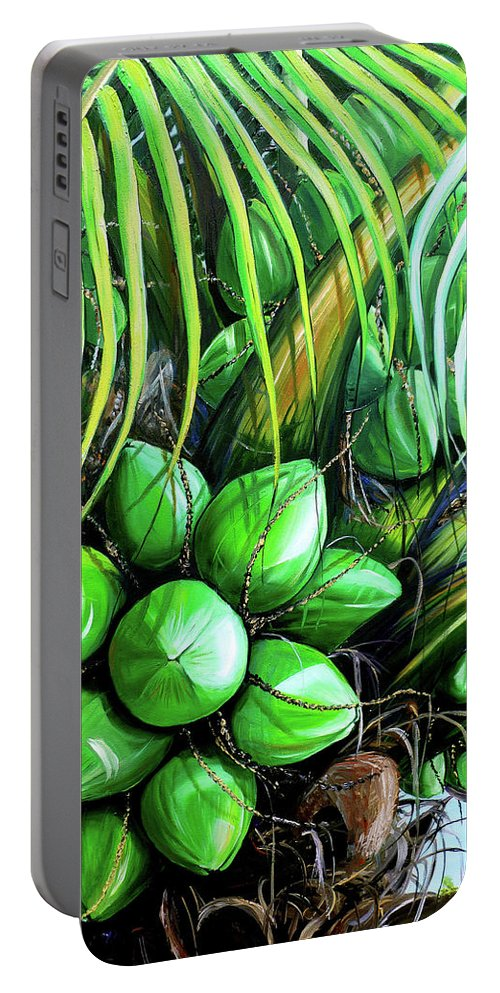 Tropical Tree Portable Battery Charger featuring the painting Coconut Tree  Sold by Karin Dawn Kelshall- Best