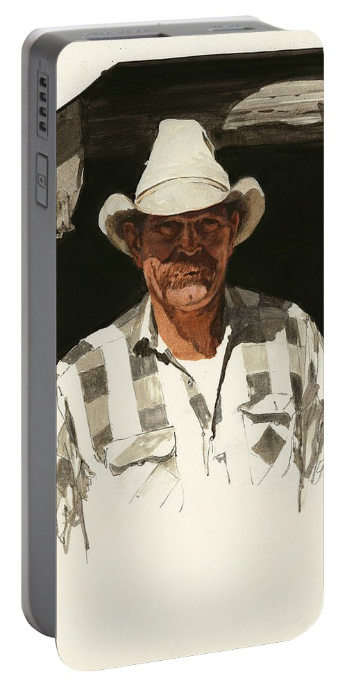 Don Langeneckert Portable Battery Charger featuring the painting Cody Cowboy 2 by Don Langeneckert