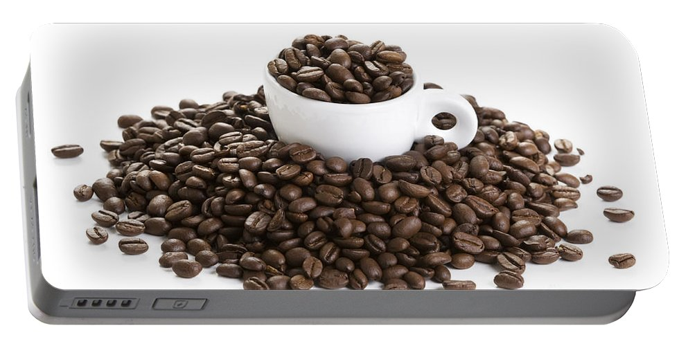 Coffee Portable Battery Charger featuring the photograph Coffee Beans And Coffee Cup Isolated On White by Lee Avison