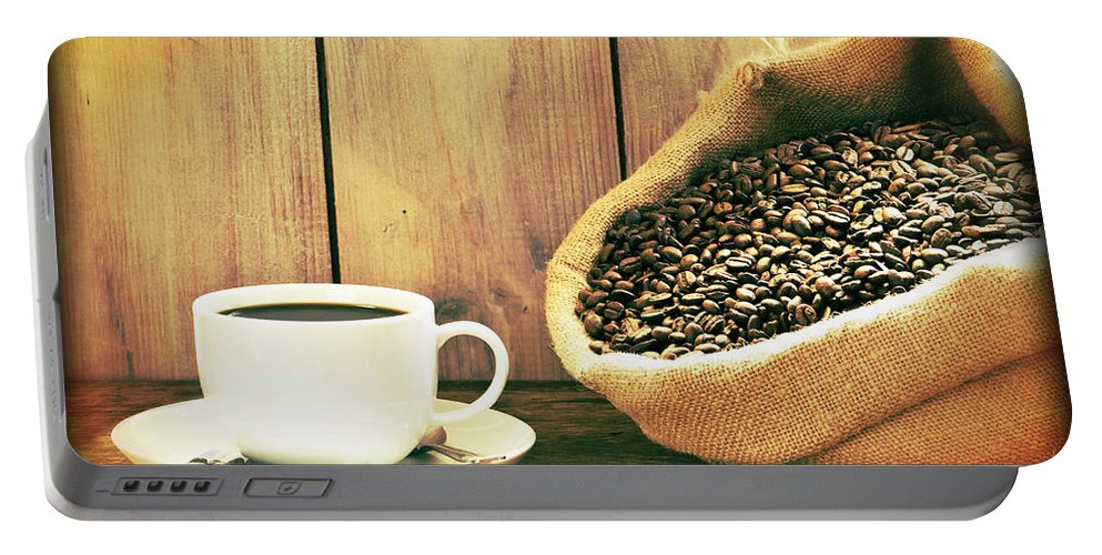 Background Portable Battery Charger featuring the photograph Coffee by Amanda Elwell