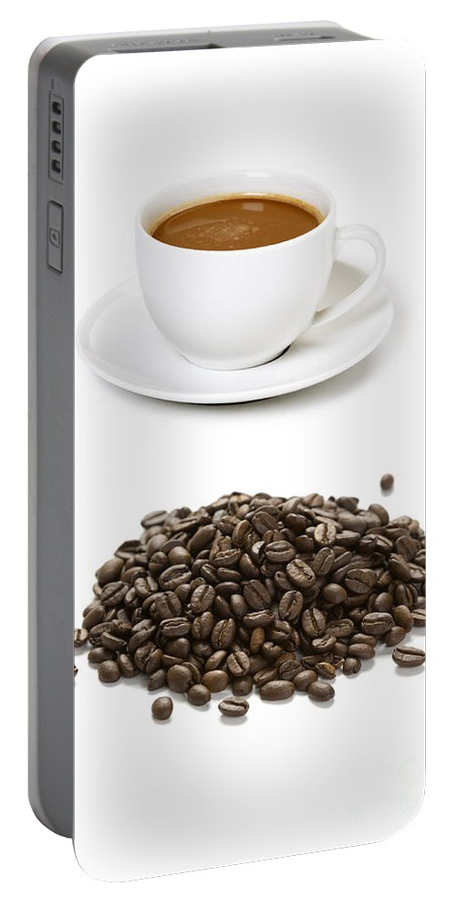 Bean Portable Battery Charger featuring the photograph Coffee Cups And Coffee Beans by Lee Avison
