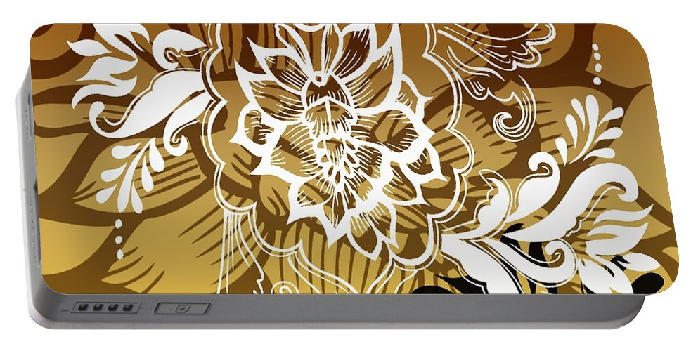 Flowers Portable Battery Charger featuring the digital art Coffee Flowers 10 Calypso by Angelina Vick