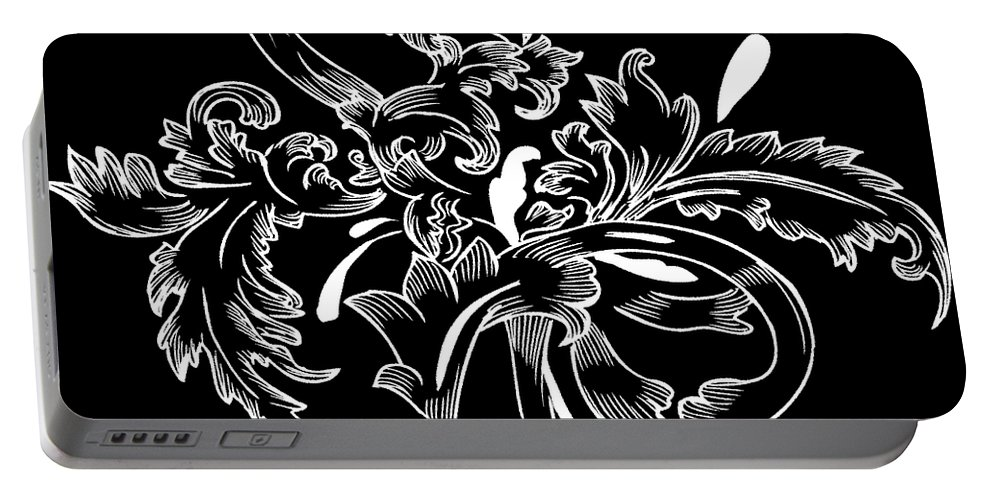 Flowers Portable Battery Charger featuring the digital art Coffee Flowers 11 Bw by Angelina Vick