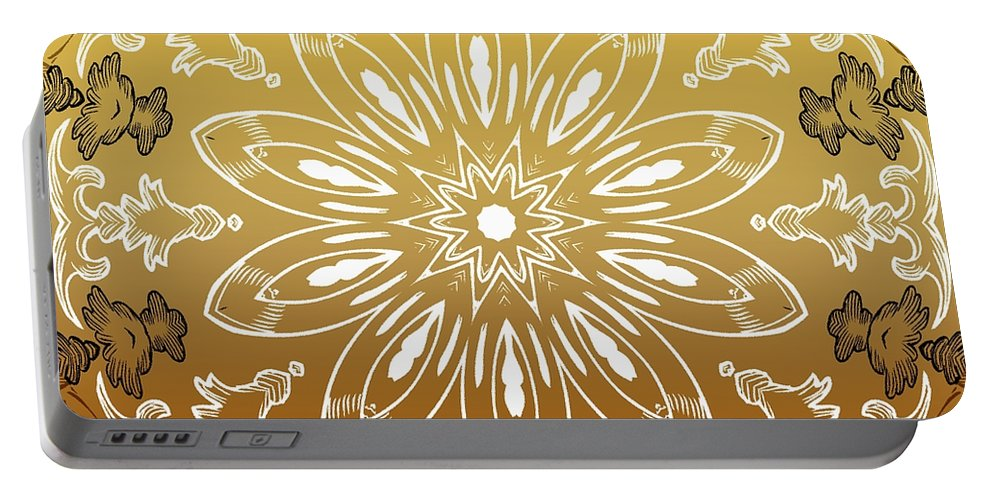 Intricate Portable Battery Charger featuring the digital art Coffee Flowers 11 Calypso Ornate Medallion by Angelina Vick