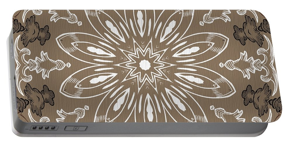 Intricate Portable Battery Charger featuring the digital art Coffee Flowers 11 Ornate Medallion by Angelina Vick