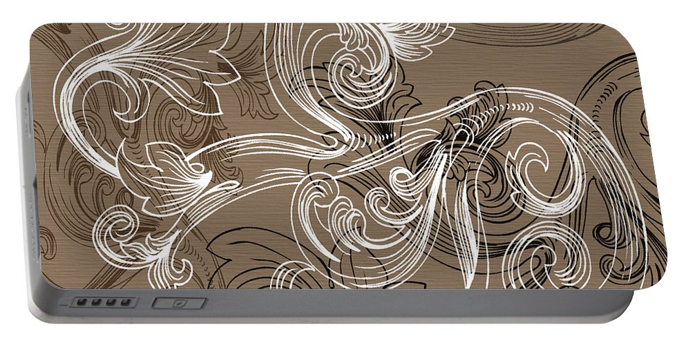 Flowers Portable Battery Charger featuring the digital art Coffee Flowers 2 by Angelina Vick