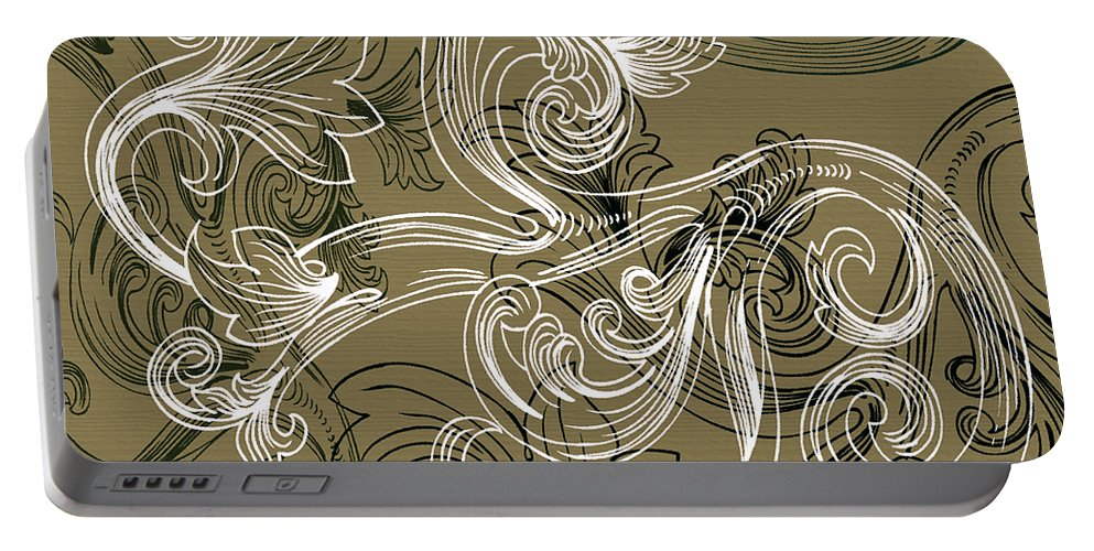 Flowers Portable Battery Charger featuring the digital art Coffee Flowers 2 Olive by Angelina Vick