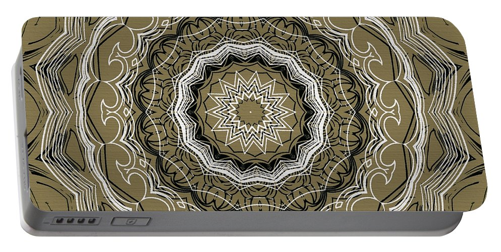 Intricate Portable Battery Charger featuring the digital art Coffee Flowers 2 Ornate Medallion Olive by Angelina Vick