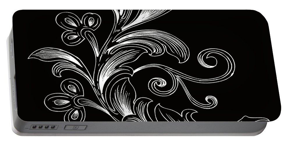 Flowers Portable Battery Charger featuring the digital art Coffee Flowers 4 Bw by Angelina Vick