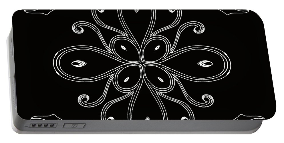 Intricate Portable Battery Charger featuring the digital art Coffee Flowers 4 Bw Ornate Medallion by Angelina Vick