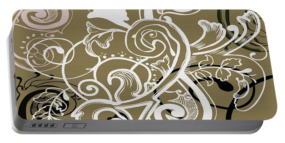 Flowers Portable Battery Charger featuring the digital art Coffee Flowers 5 Olive by Angelina Vick