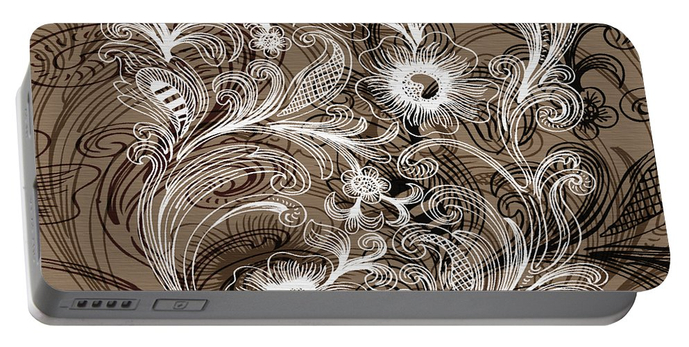 Flowers Portable Battery Charger featuring the digital art Coffee Flowers 6 by Angelina Vick