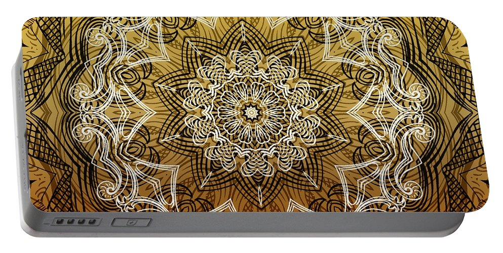 Intricate Portable Battery Charger featuring the digital art Coffee Flowers 6 Calypso Ornate Medallion by Angelina Vick