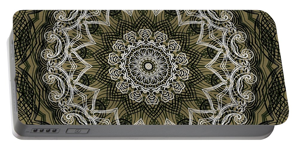 Intricate Portable Battery Charger featuring the digital art Coffee Flowers 6 Olive Ornate Medallion by Angelina Vick