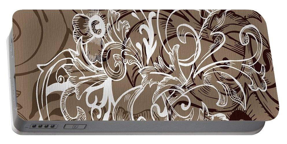 Flowers Portable Battery Charger featuring the digital art Coffee Flowers 7 by Angelina Vick