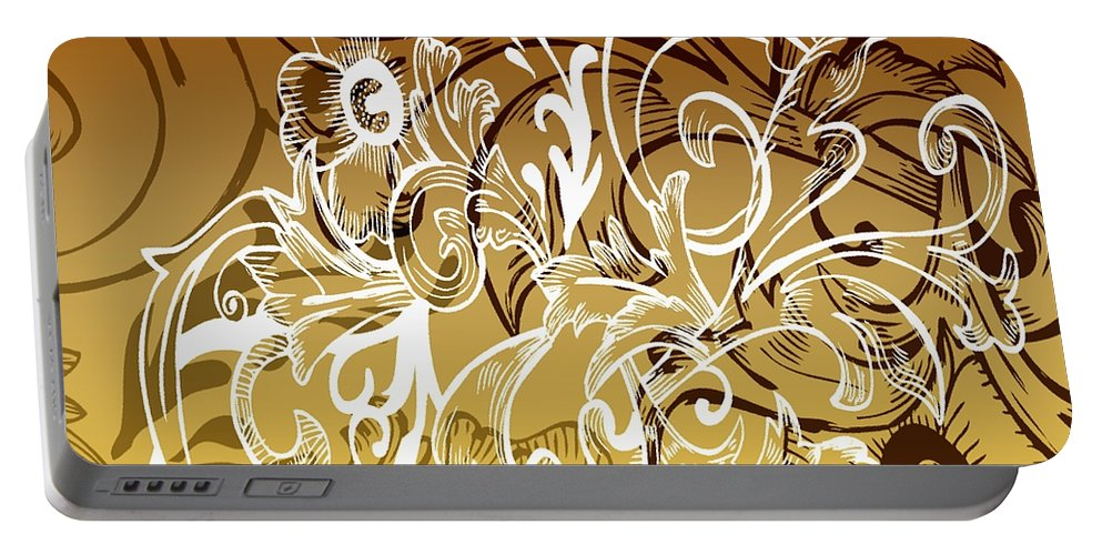 Flowers Portable Battery Charger featuring the digital art Coffee Flowers 7 Calypso by Angelina Vick