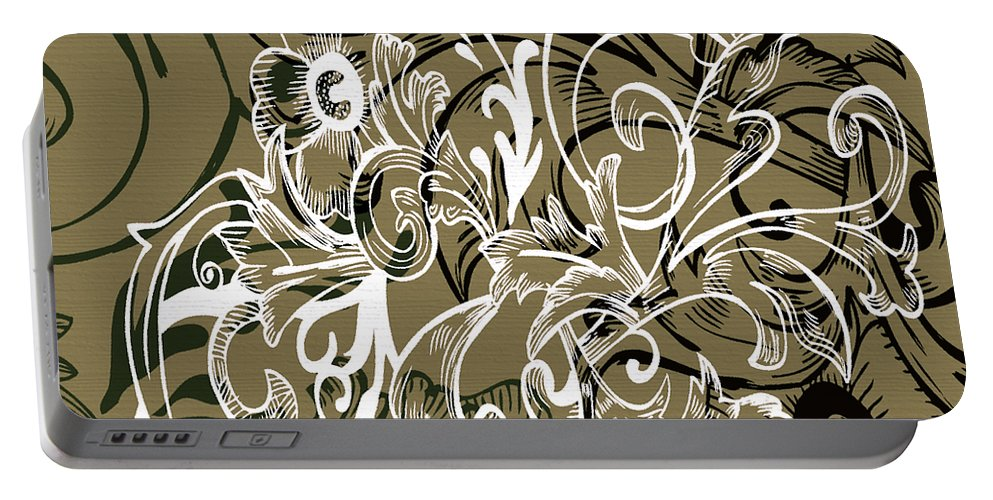 Flowers Portable Battery Charger featuring the digital art Coffee Flowers 7 Olive by Angelina Vick