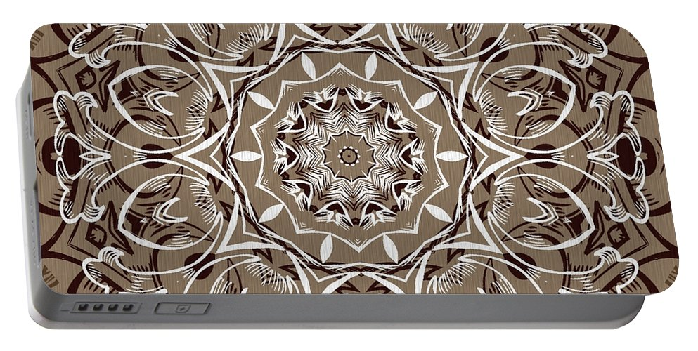 Intricate Portable Battery Charger featuring the digital art Coffee Flowers 7 Ornate Medallion by Angelina Vick