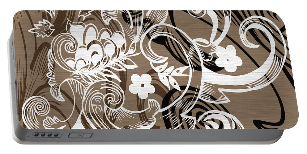 Flowers Portable Battery Charger featuring the digital art Coffee Flowers 8 by Angelina Vick
