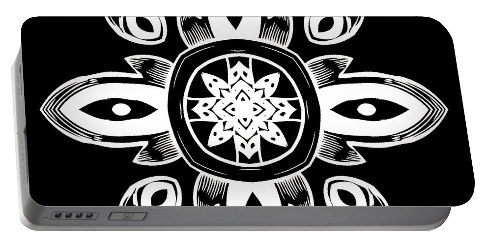 Intricate Portable Battery Charger featuring the digital art Coffee Flowers 8 Bw Ornate Medallion by Angelina Vick