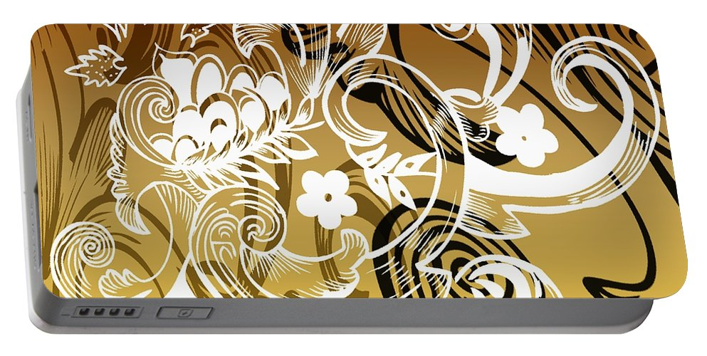 Flowers Portable Battery Charger featuring the digital art Coffee Flowers 8 Calypso by Angelina Vick