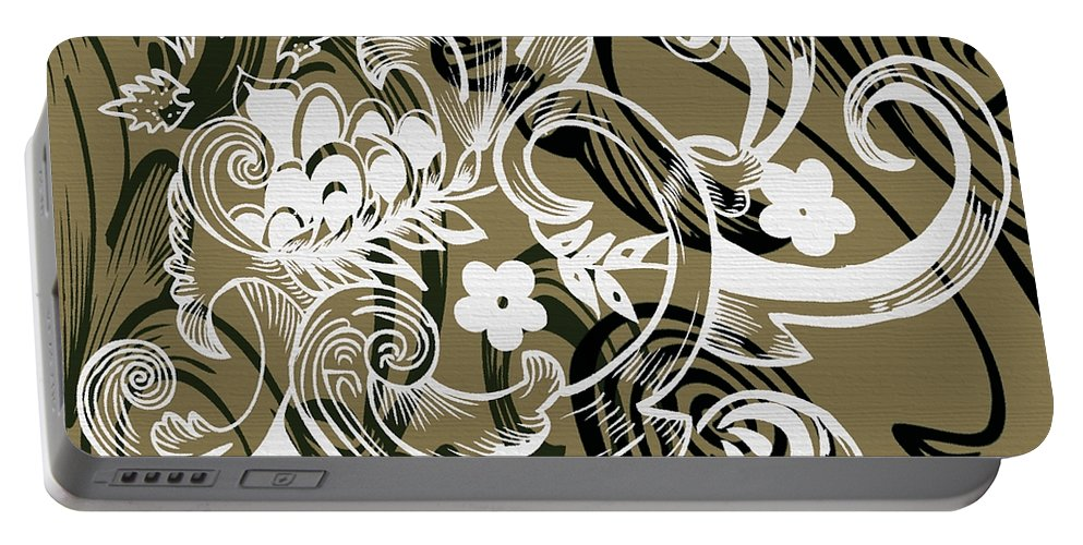 Flowers Portable Battery Charger featuring the digital art Coffee Flowers 8 Olive by Angelina Vick