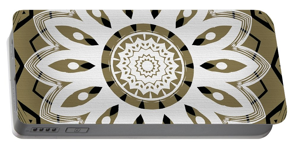 Intricate Portable Battery Charger featuring the digital art Coffee Flowers 8 Olive Ornate Medallion by Angelina Vick