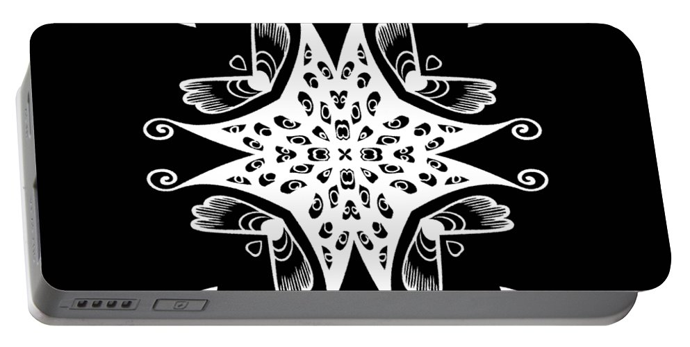 Intricate Portable Battery Charger featuring the digital art Coffee Flowers 9 Bw Ornate Medallion by Angelina Vick