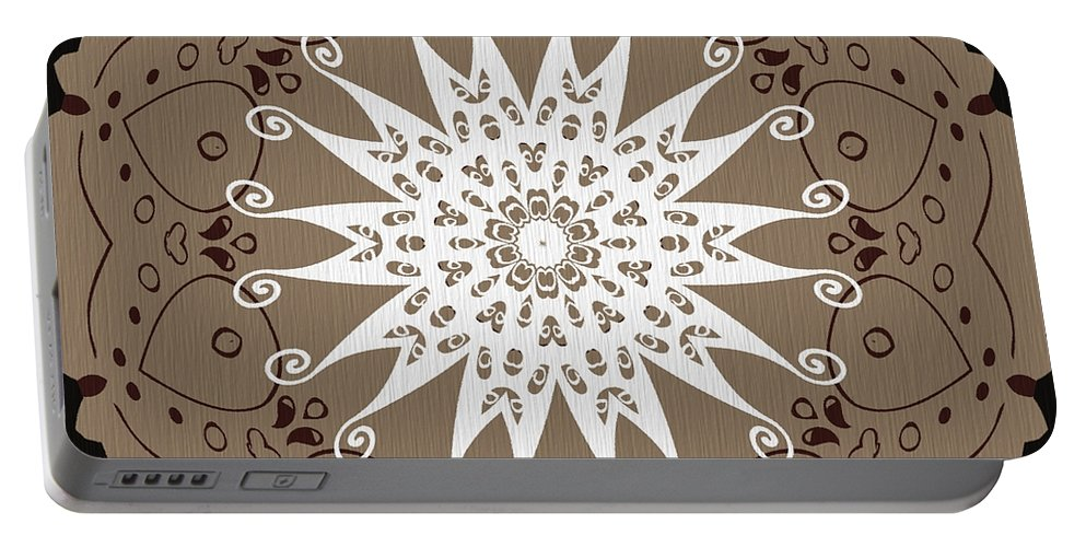 Intricate Portable Battery Charger featuring the digital art Coffee Flowers 9 Ornate Medallion by Angelina Vick