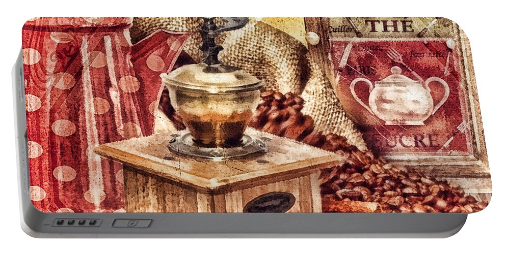Coffee Mill Portable Battery Charger featuring the painting Coffee Mill by Mo T