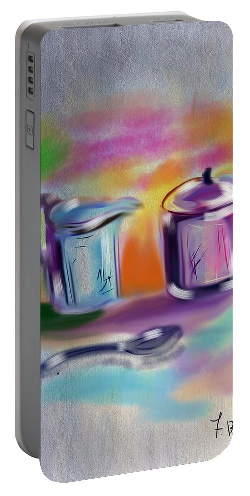Still Life Painting Portable Battery Charger featuring the digital art Coffee Still Life by Frank Bright
