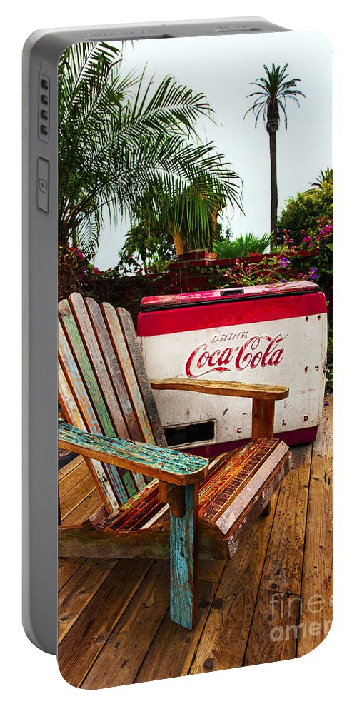 Coke Machine Adirondack Chair Portable Battery Charger featuring the photograph Vintage Coke Machine With Adirondack Chair by Jerry Cowart