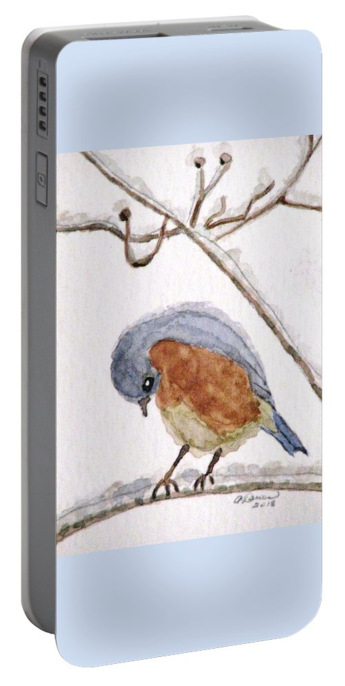 Bluebirds Portable Battery Charger featuring the painting Cold Feet by Angela Davies