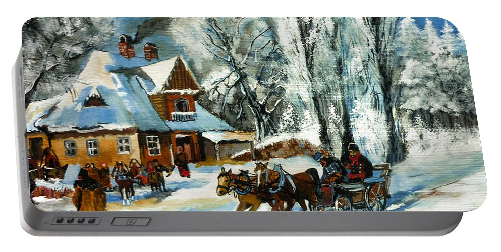 Cold Morning Portable Battery Charger featuring the painting Cold Morning by Ryszard Sleczka