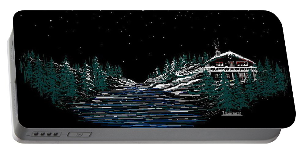 Cold Mountain Winter Portable Battery Charger featuring the digital art Cold Mountain Winter by Larry Lehman