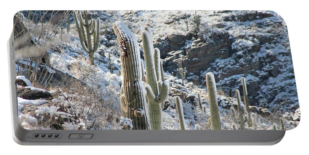 David S Reynolds Portable Battery Charger featuring the photograph Cold Saguaros by David S Reynolds