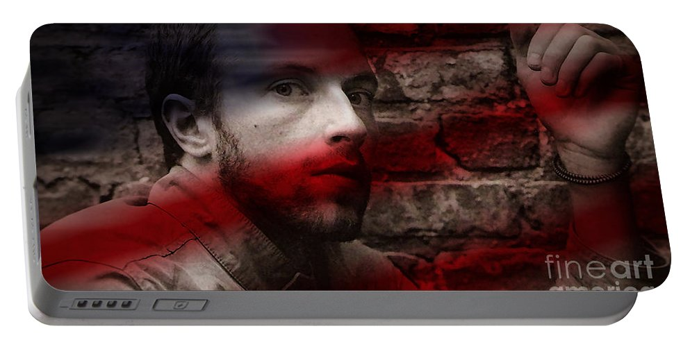 Rock And Roll Photographs Portable Battery Charger featuring the mixed media Coldplay Chris Martin by Marvin Blaine