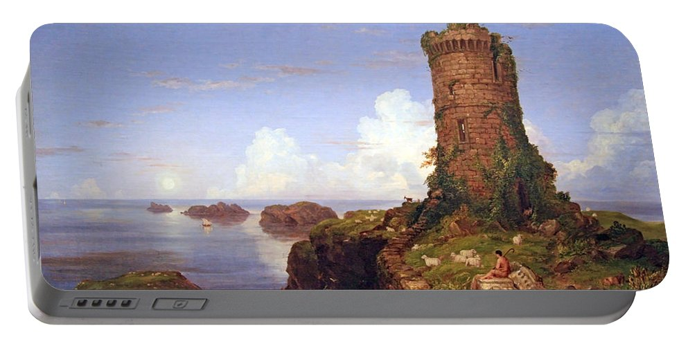 Italian Coast Scene With Ruined Tower Portable Battery Charger featuring the photograph Cole's Italian Coast Scene With Ruined Tower by Cora Wandel