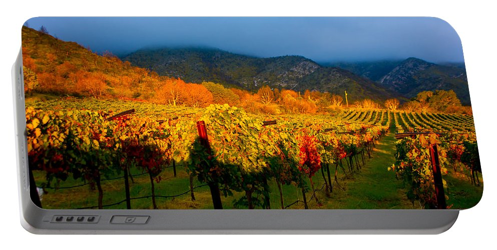 Colibri Vineyards Portable Battery Charger featuring the photograph Colibri Morning by Kent Nancollas